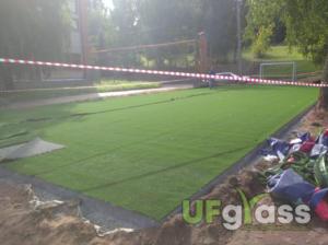 Монтаж незасыпной искусственной травы для мини-футбола